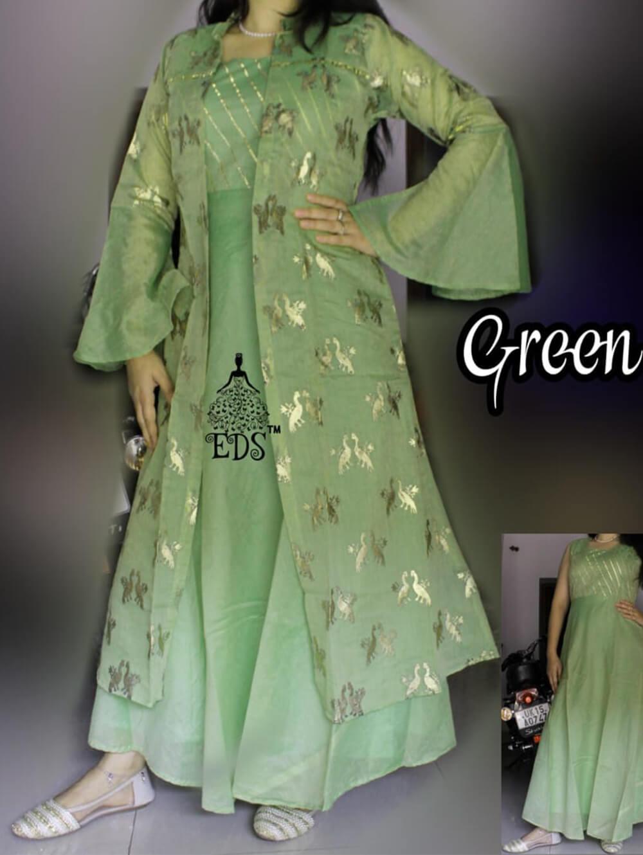 Green Designer Ethnic Wear Chanderi Silk Stitched Gown