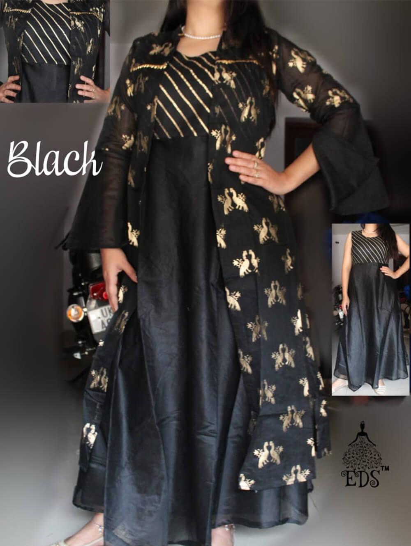 Black Designer Ethnic Wear Chanderi Silk Stitched Gown