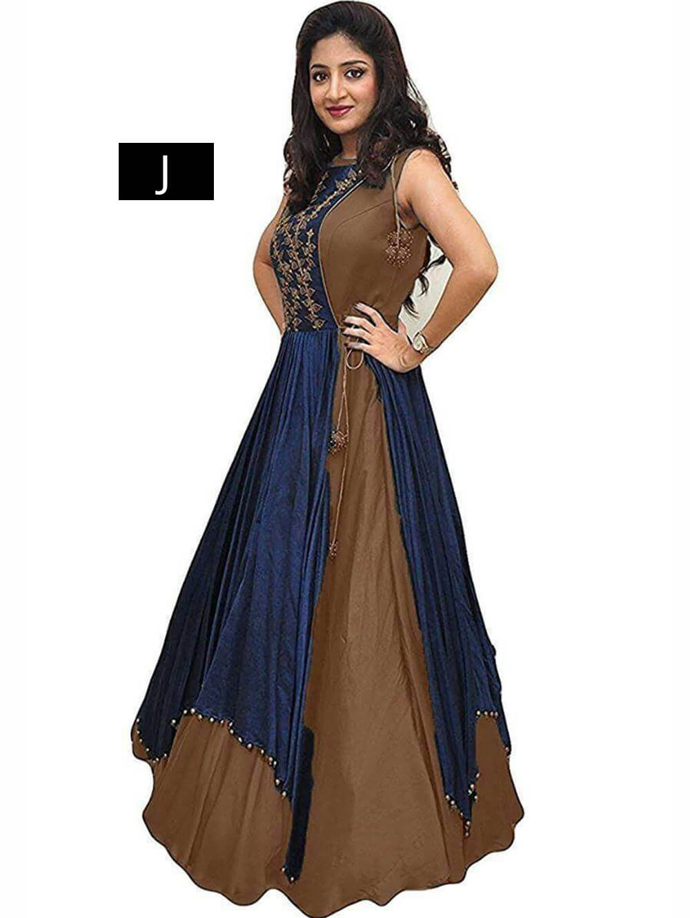 2020J Coffee Designer Banglory Stitched Gown
