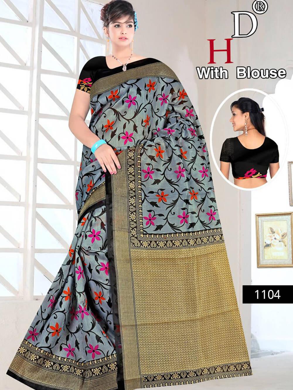 1104 Steel Blue and Black Designer Bhagalpuri Silk Saree
