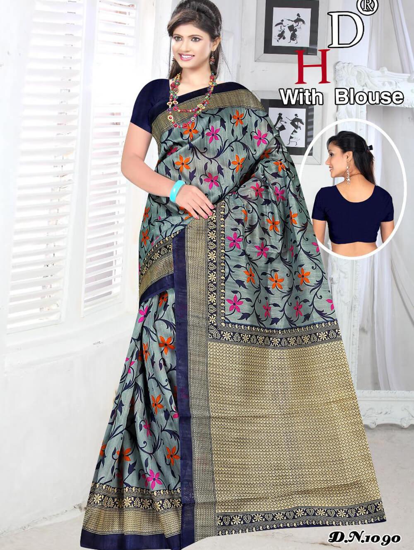 1090 Steel Blue Designer Bhagalpuri Silk Saree