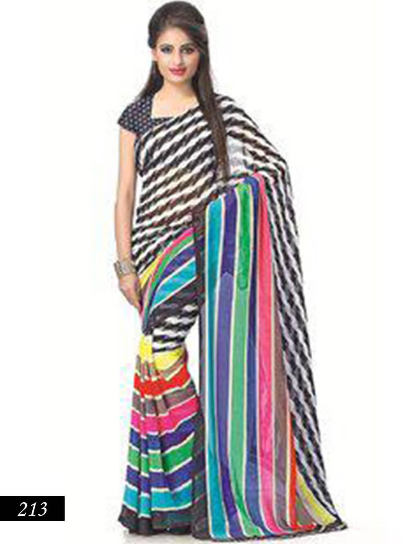 213 White and Multicolor Designer Bhagalpuri Silk Saree