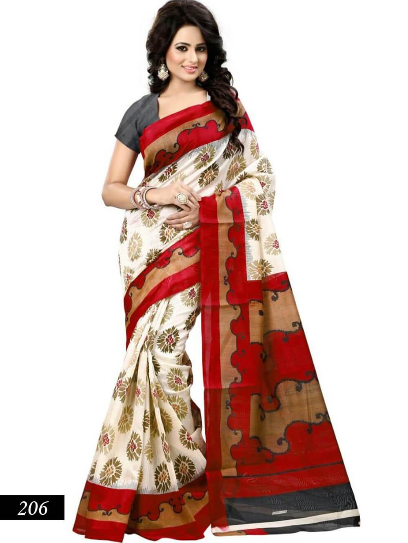 206 White and Red Designer Bhagalpuri Silk Saree