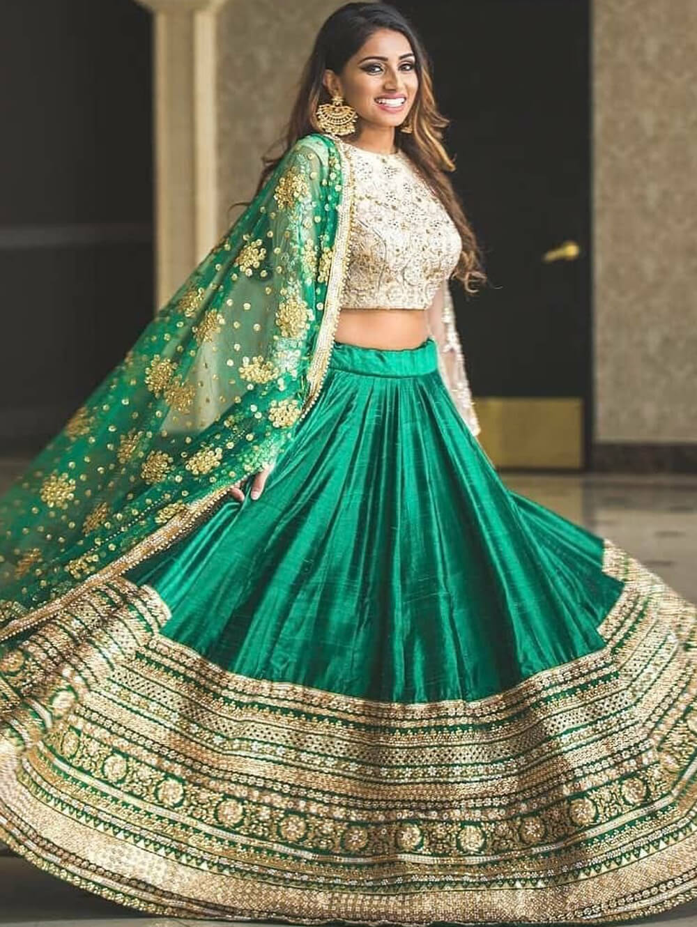 Sea Green Designer Banglory Satin Lehenga Choli