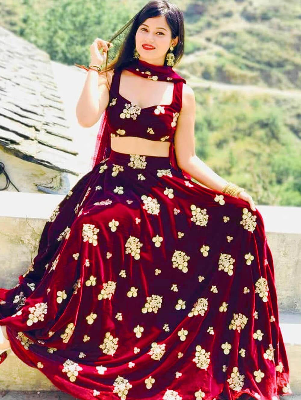 Dark Red Designer Ethnic Wear Lehenga Choli