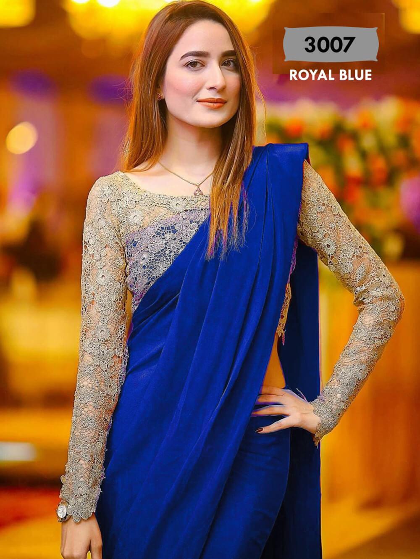 Royal Blue Designer Chanderi Silk Saree