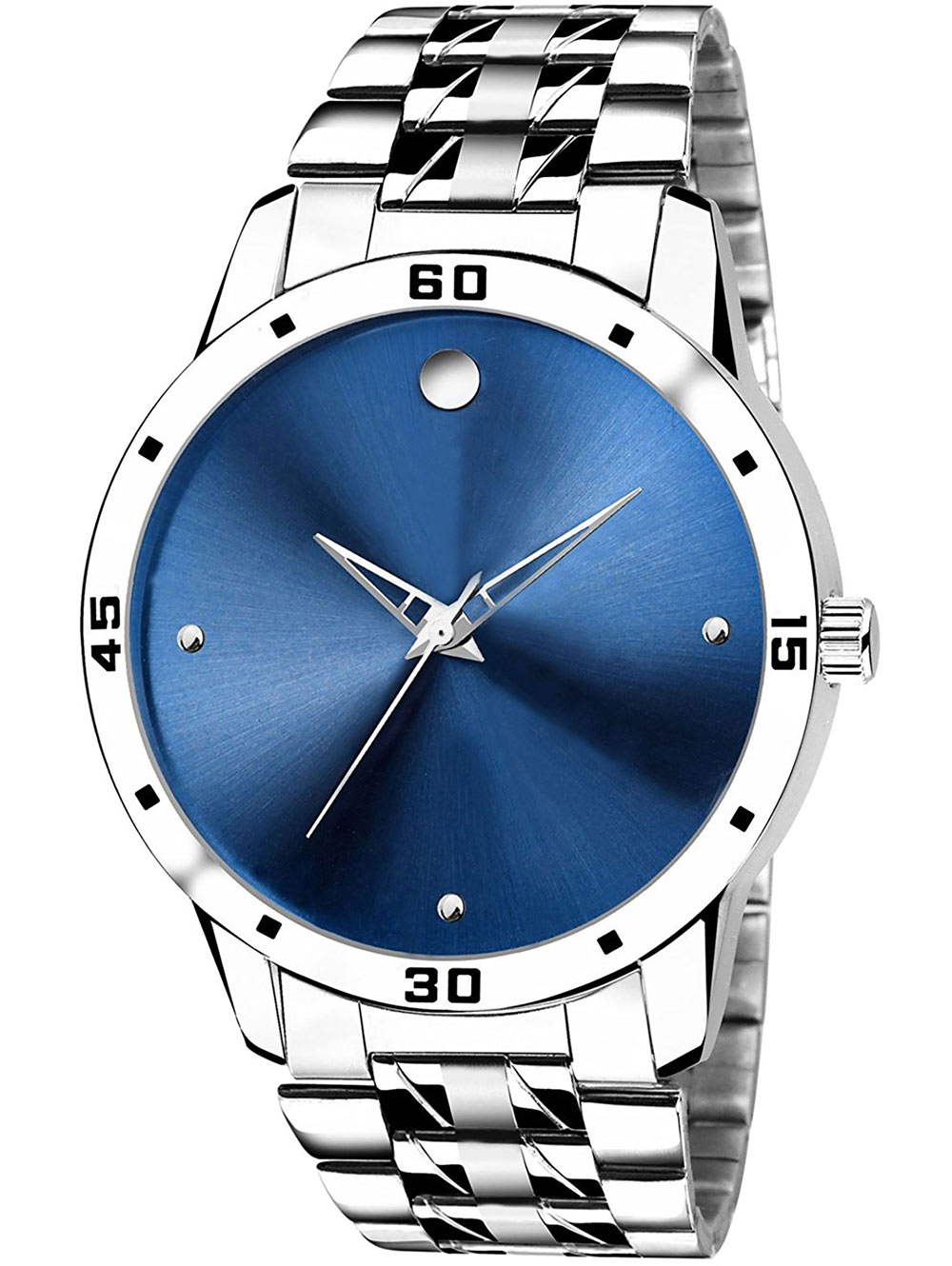 FX467 Silver Band Blue Dial Analogue Mens Watch