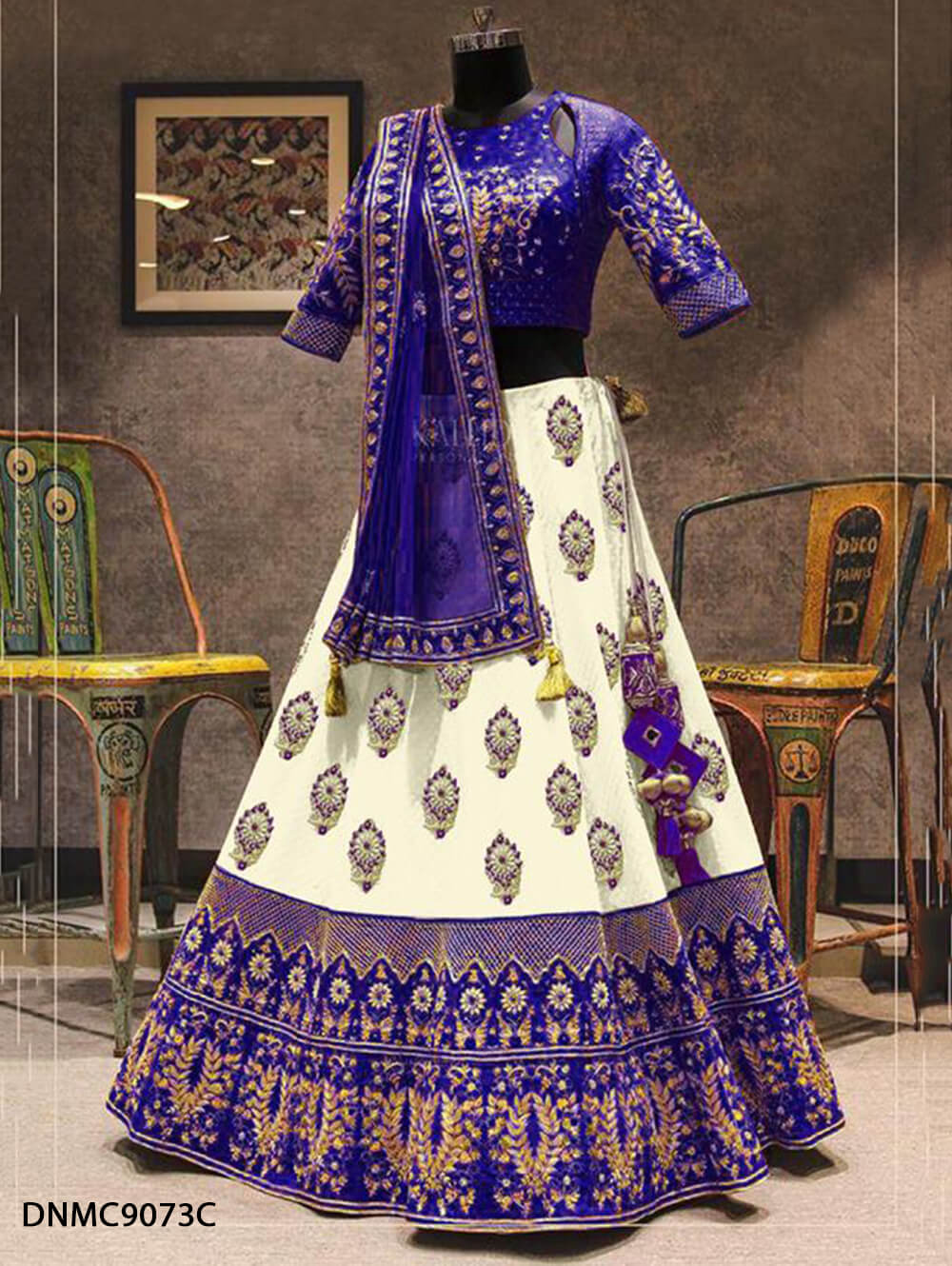 DNMC9073C Blue Lehenga Malbari Silk Embroidery Work Collection