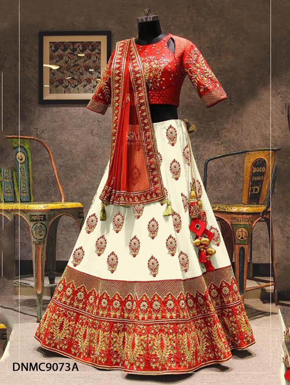 DNMC9073A Red Lehenga Malbari Silk Embroidery Work Collection