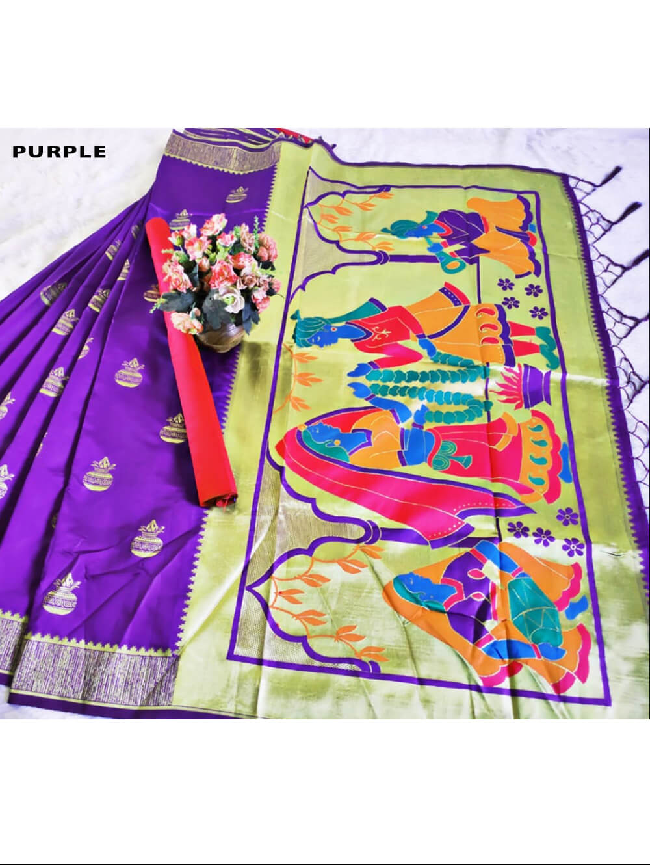 Purple Paithani Silk Designer Saree