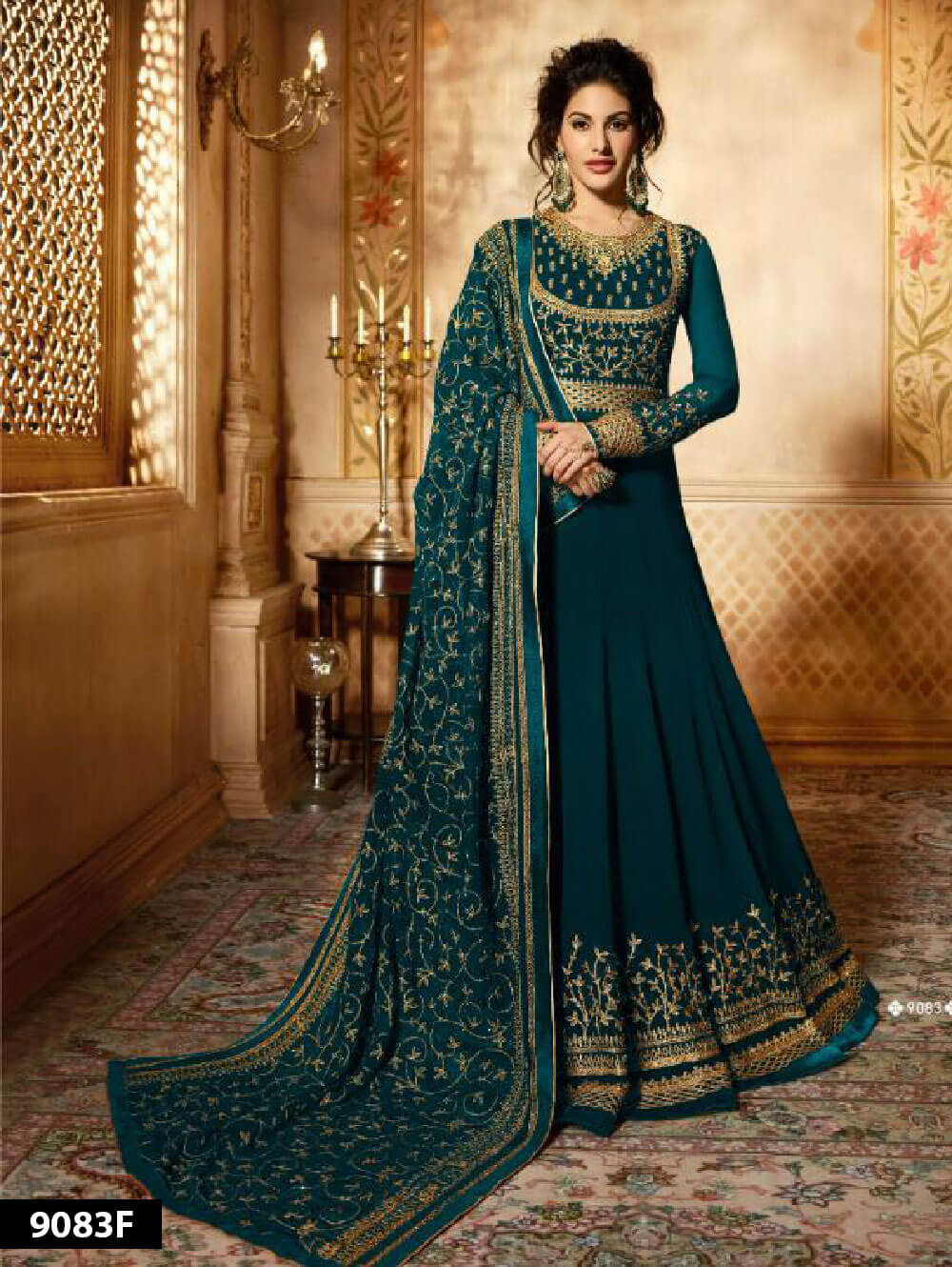 9083F Rama Green Designer Faux Georgette Anarkali Replica Suit