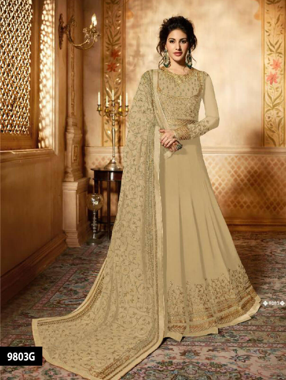 9083G Tan Designer Faux Georgette Anarkali Replica Suit