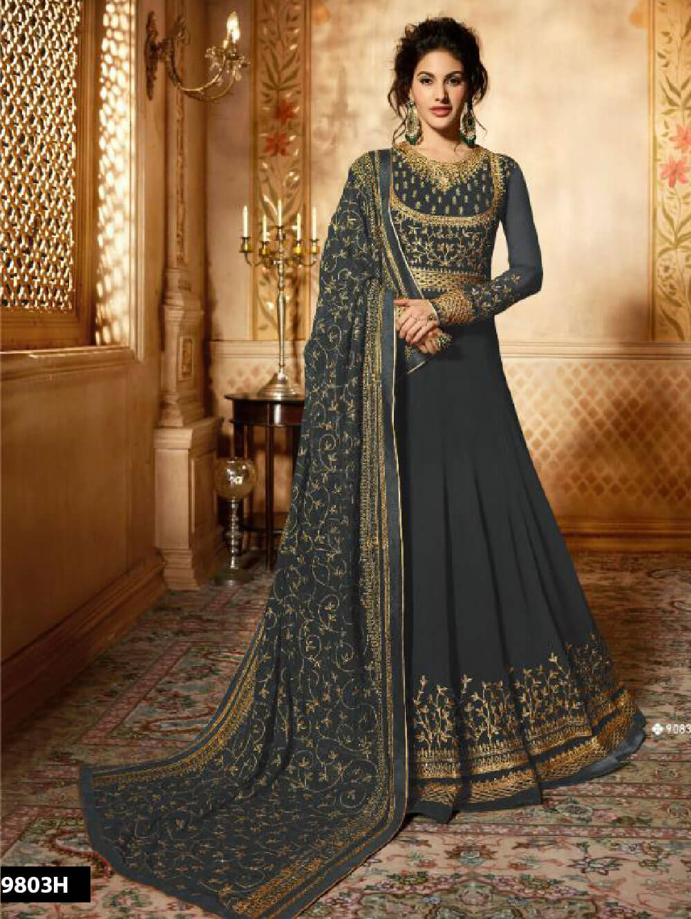 9083H Grey Designer Faux Georgette Anarkali Replica Suit