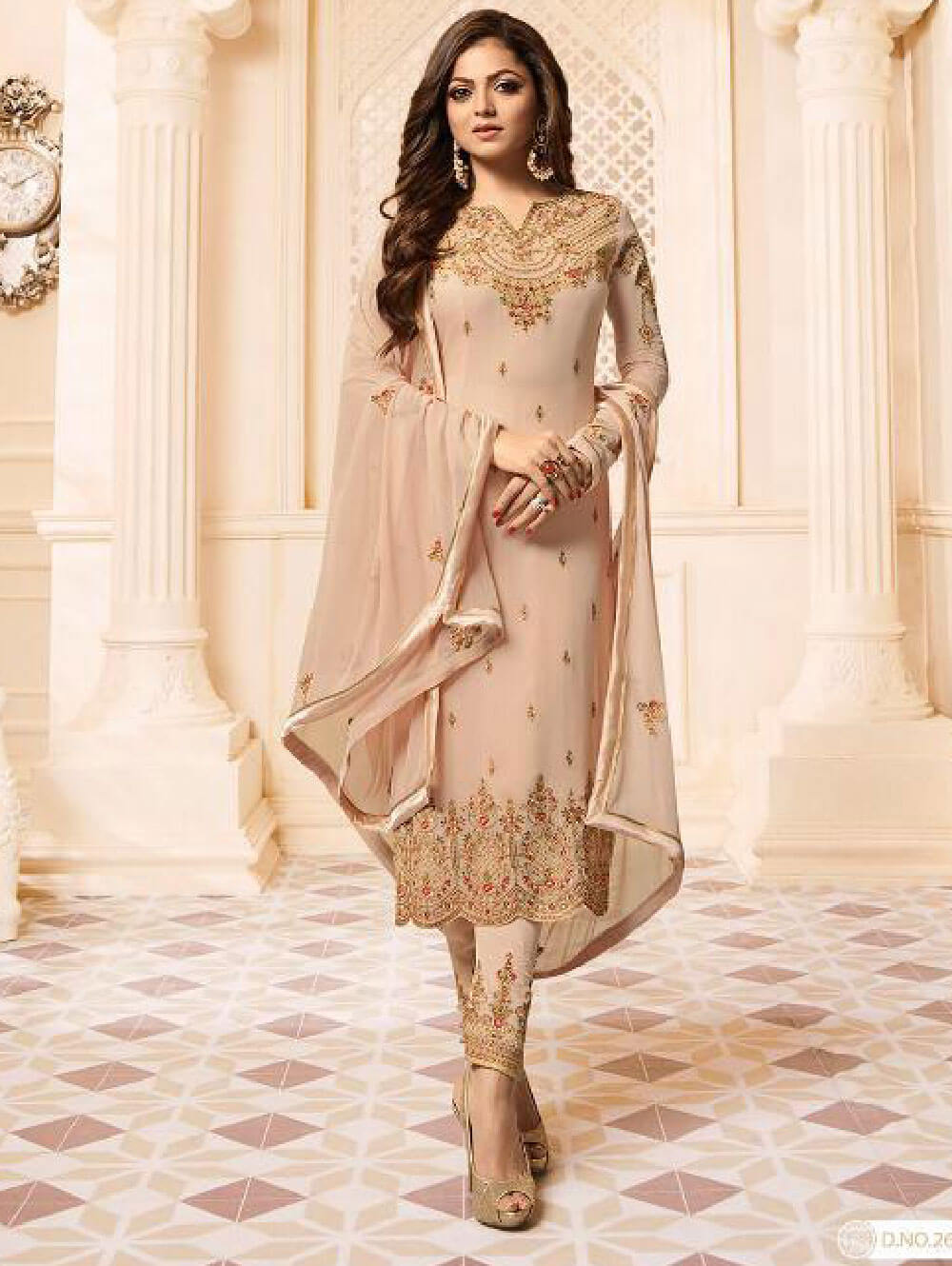 2602 Tan Designer Ethnic Wear Straight Suit