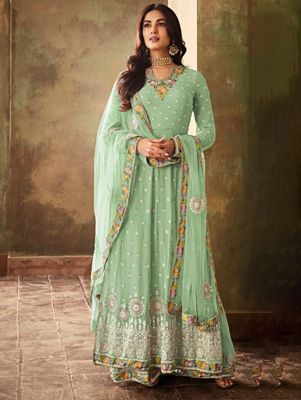 K6703E Georgette With Embroidery Work Plazo Collection