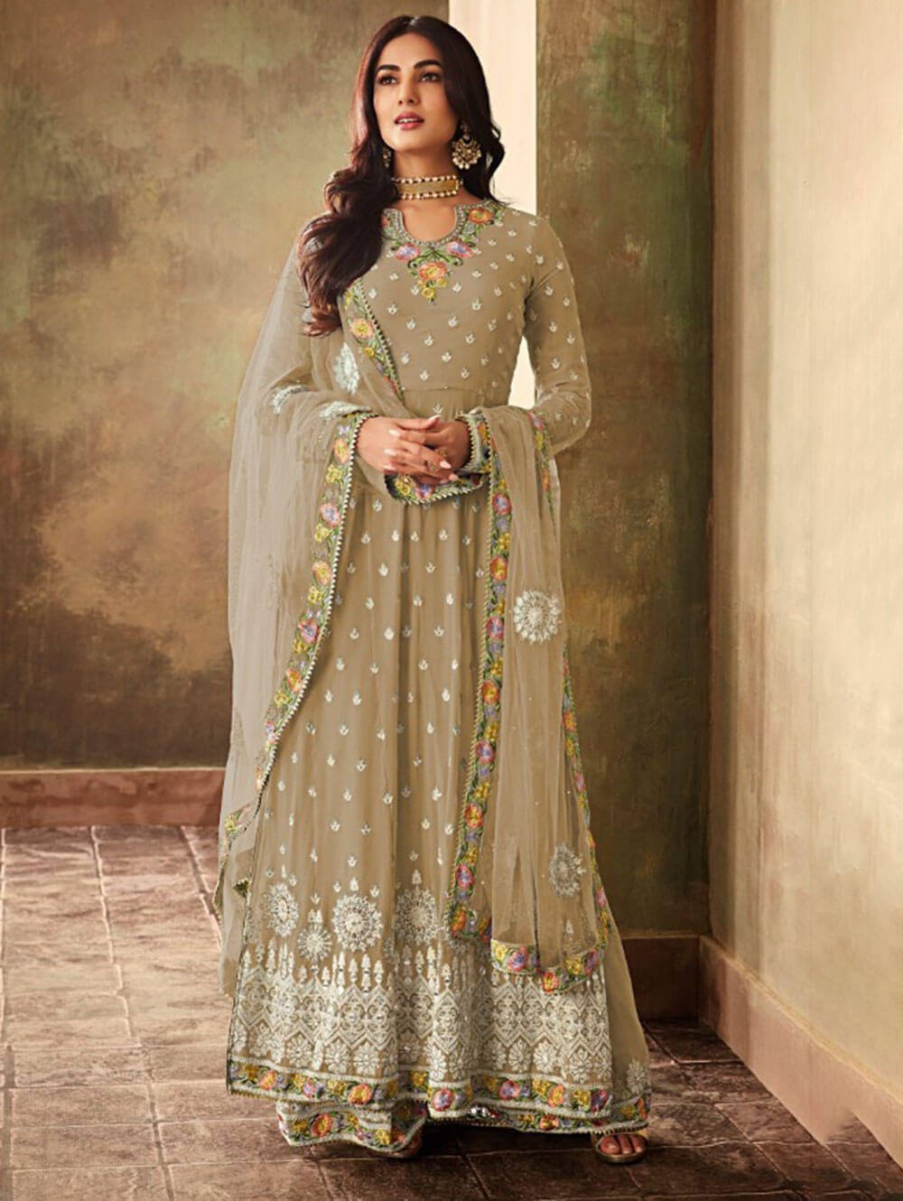 K6703C Georgette With Embroidery Work Plazo Collection