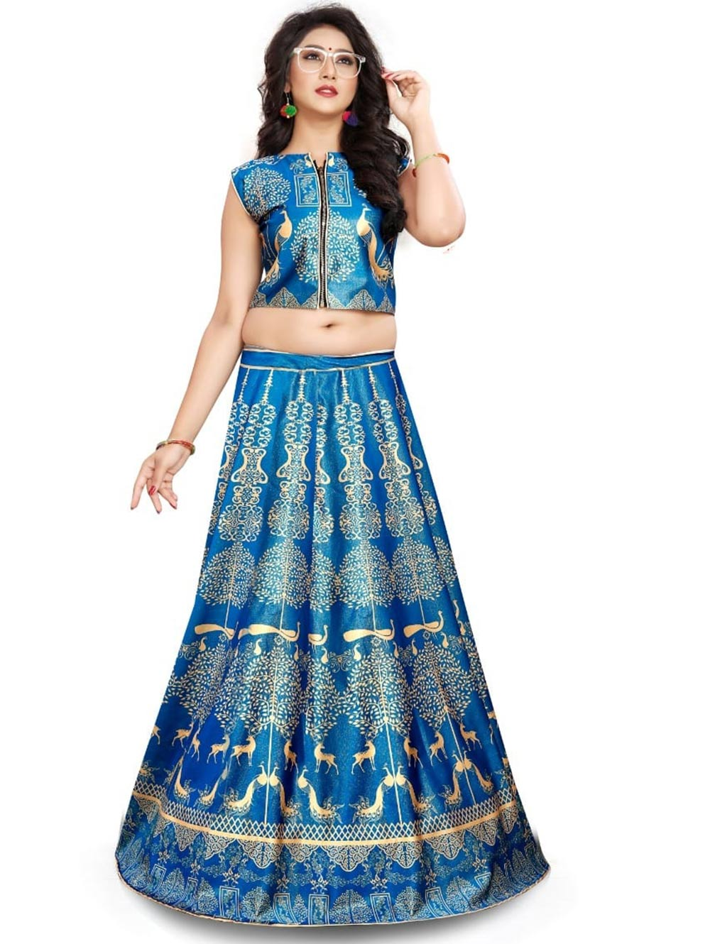 GE02 Digital Printed Designer Lehenga With Croptop