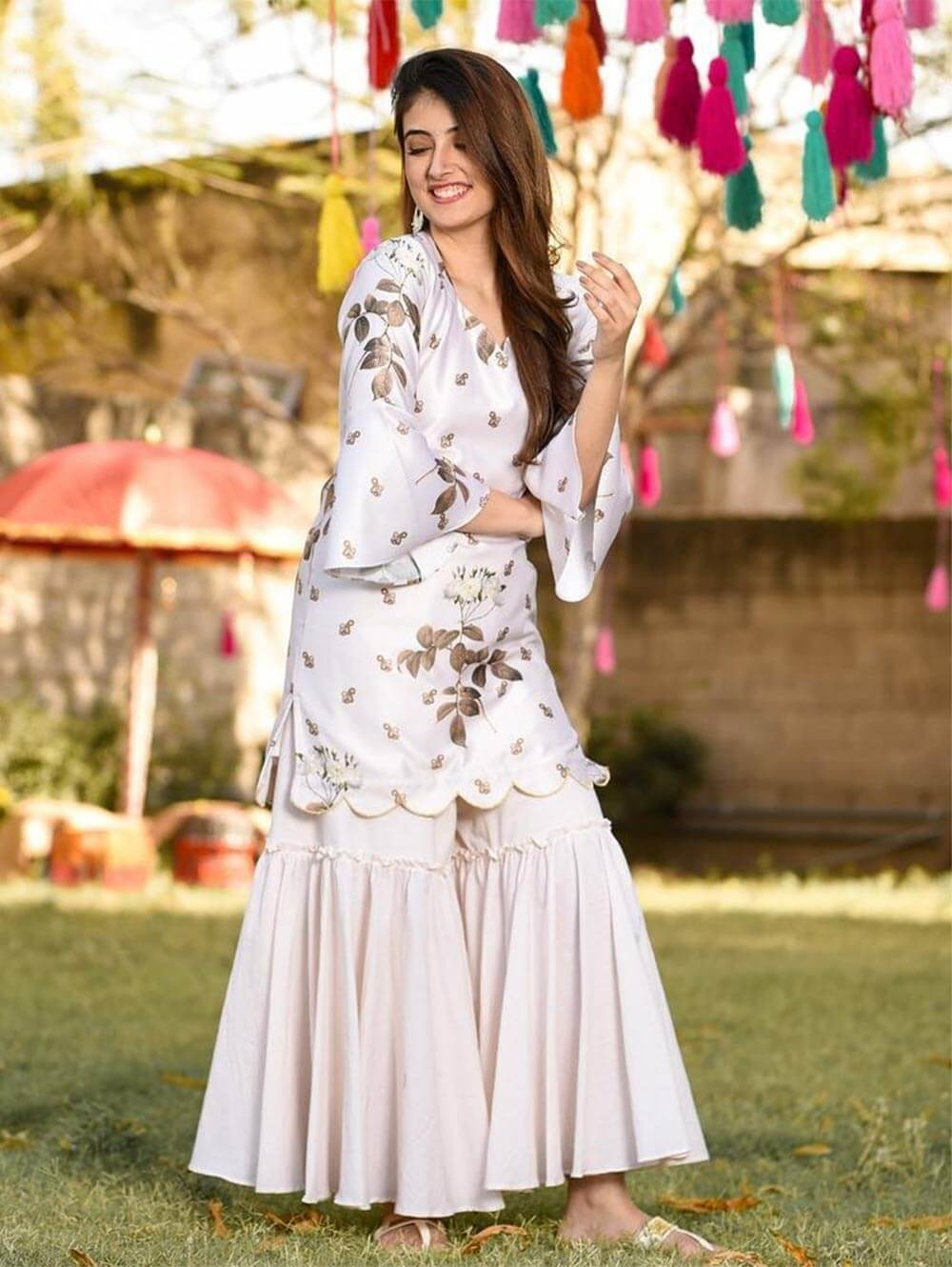 SHARARAPLAZZO Digital Printed  Georgette Top With Beautiful Fully Size Cotton Creap Plazzo Collection