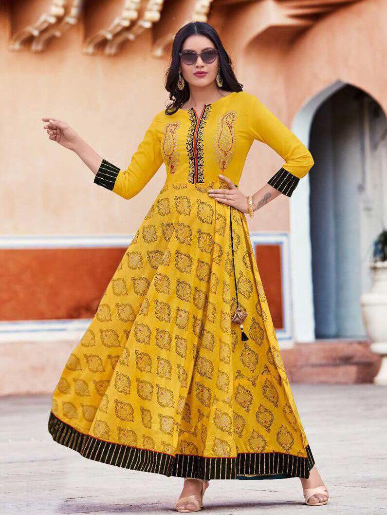 1008 Designer Heavy Rayon Anarkali Style Kurti