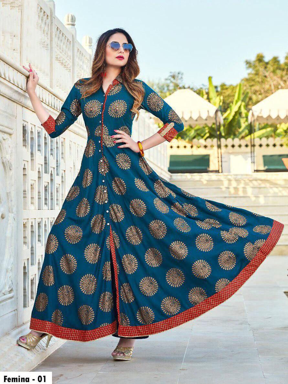 1003 Designer Heavy Rayon Anarkali Style Kurti