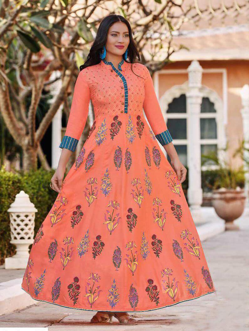 1002 Designer Heavy Rayon Anarkali Style Kurti