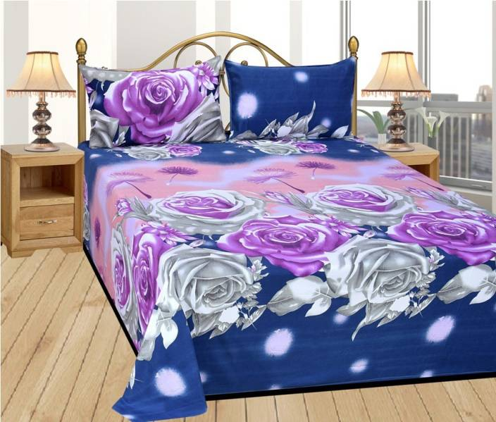 74afddd48 144 TC Polycotton Double 3D Printed Bedsheet- Bed Covers- Furnishing ...