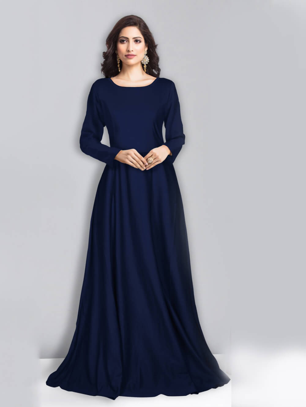 ZORBA103 BLUE M Size Exclusive Designer Gown Collection