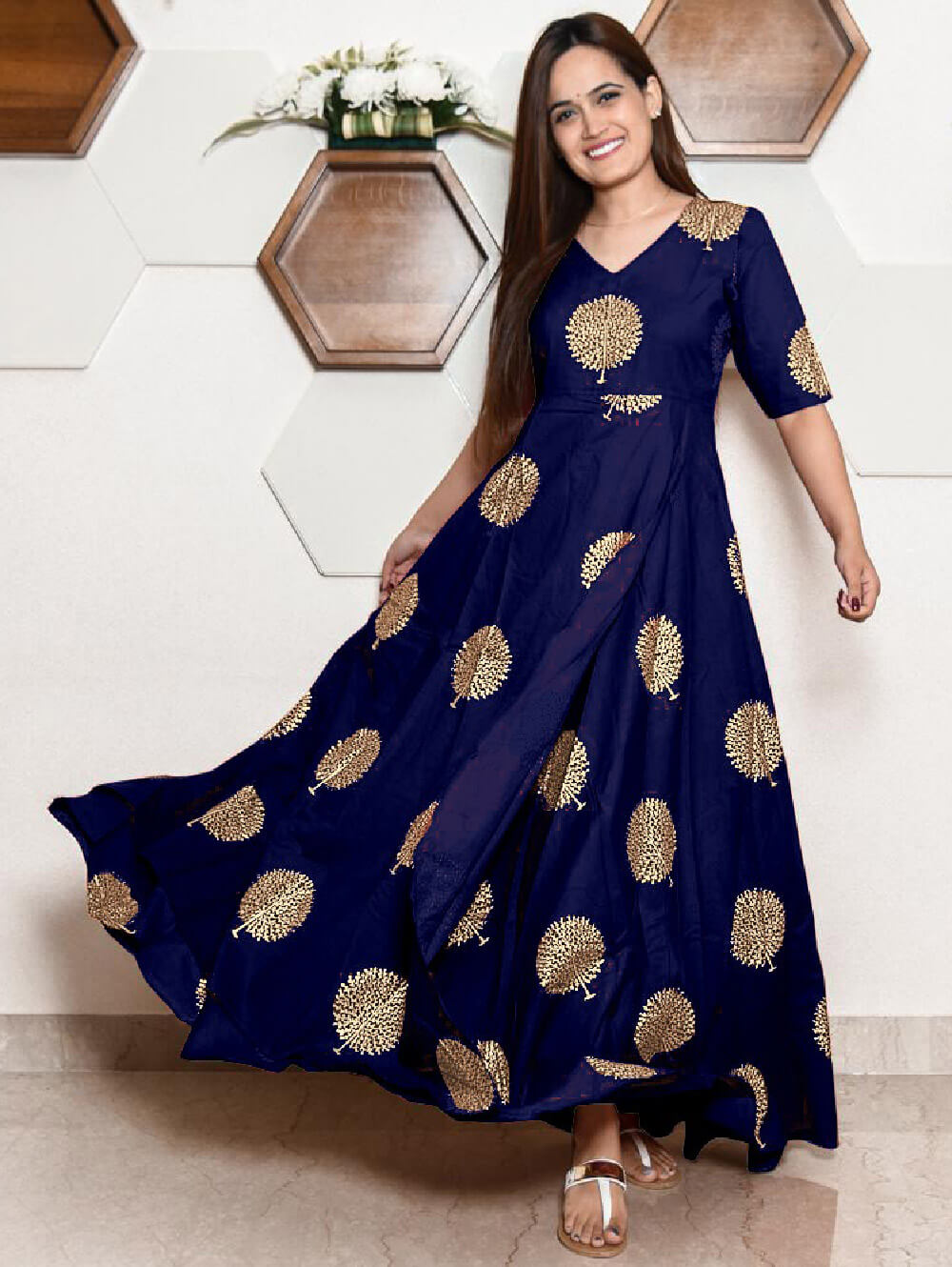 KK29B Ryon With Block Print Designer Gown Collection