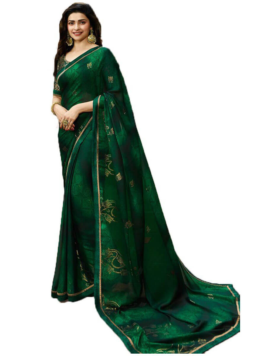 Fancy Daily Wear Green Designer Saree