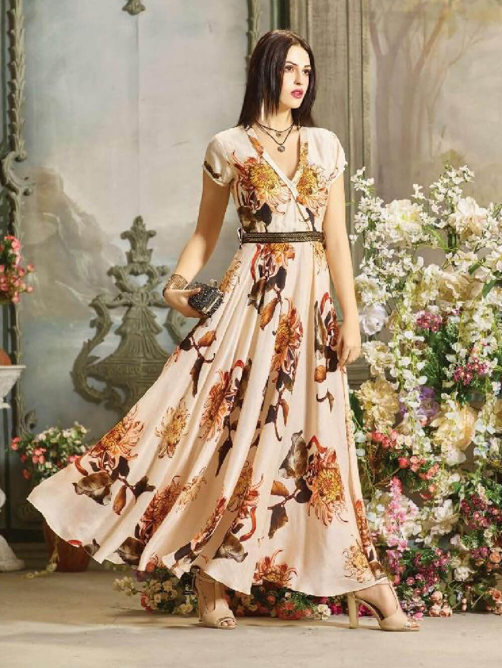 DNO24 Digital Printed Poly Rayon Gown Collection