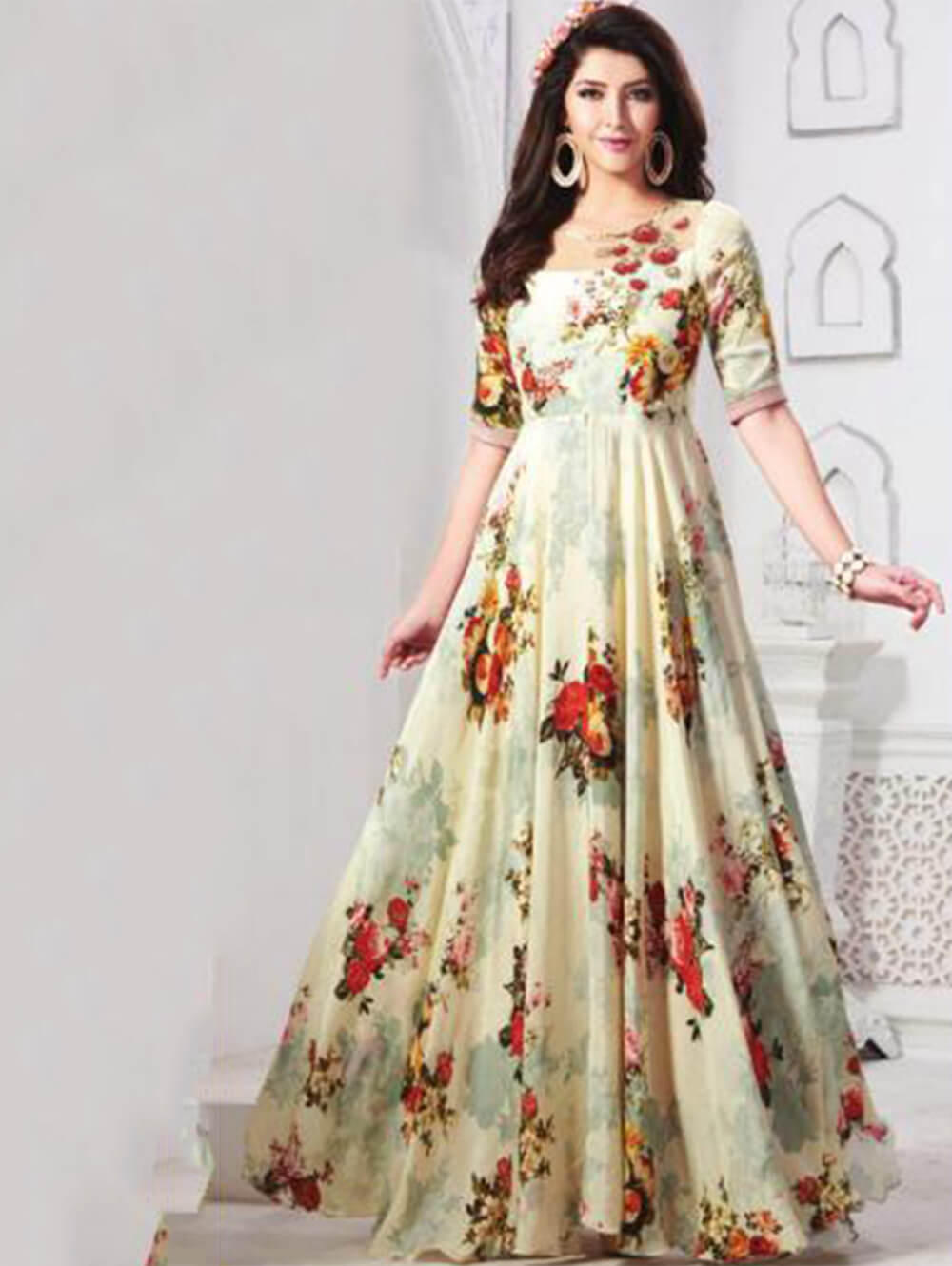 DNO3 Digital Printed Poly Rayon Gown Collection