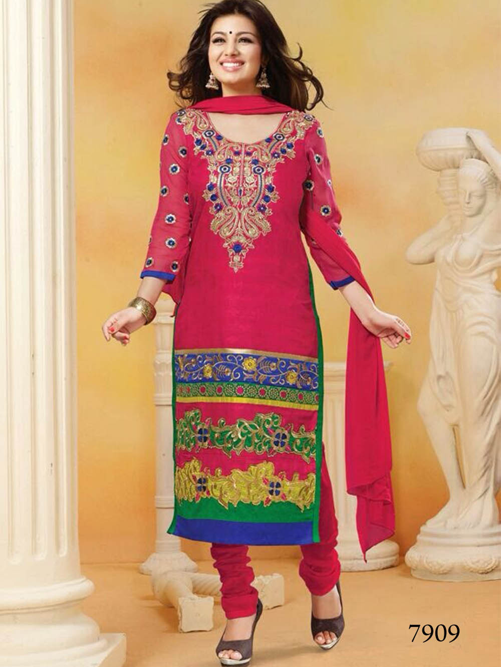 7909 Magenta and Green Straight Suit