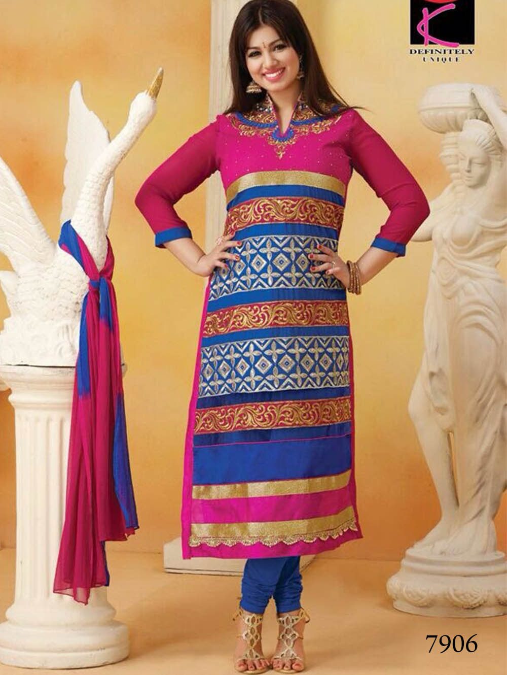 7906 Magenta and Blue Straight Suit