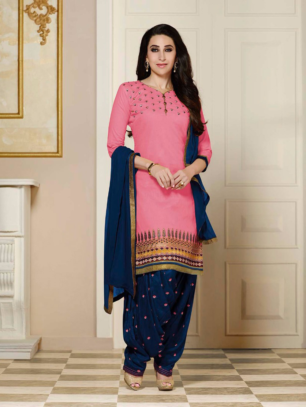 4356Pink and MidnightBlue Party Wear Cotton Straight Suit