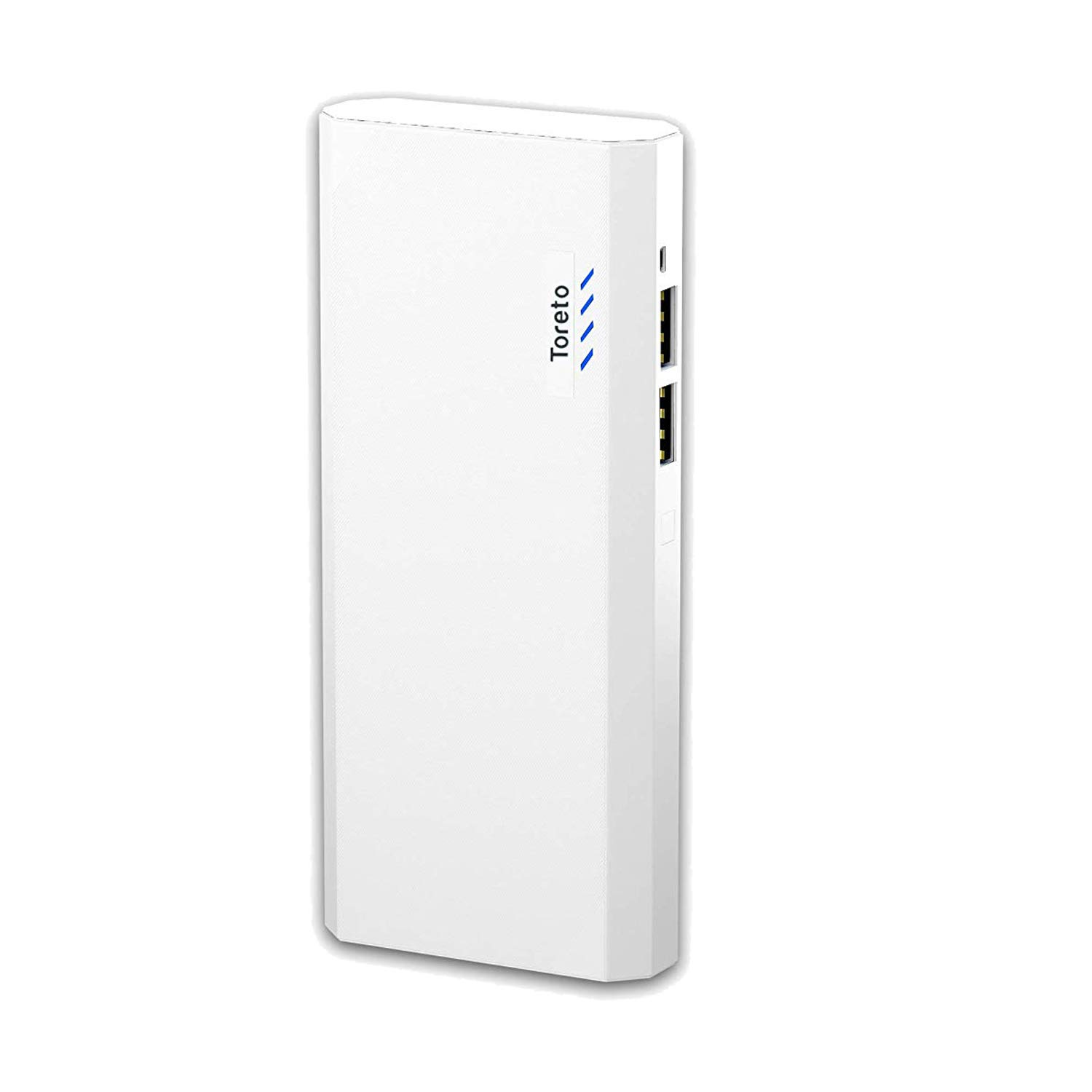 Toreto Power Charge 10000mah Lithium Polymer Powerbank for Smartphone, Ipad and Tablets (White, TOR-33)
