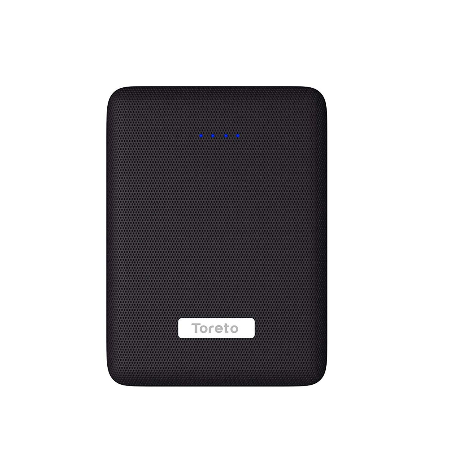 Toreto Portable Ultra Slim 10000mAh Li-Polymer Power Bank LED Display (TOR-39, Black)