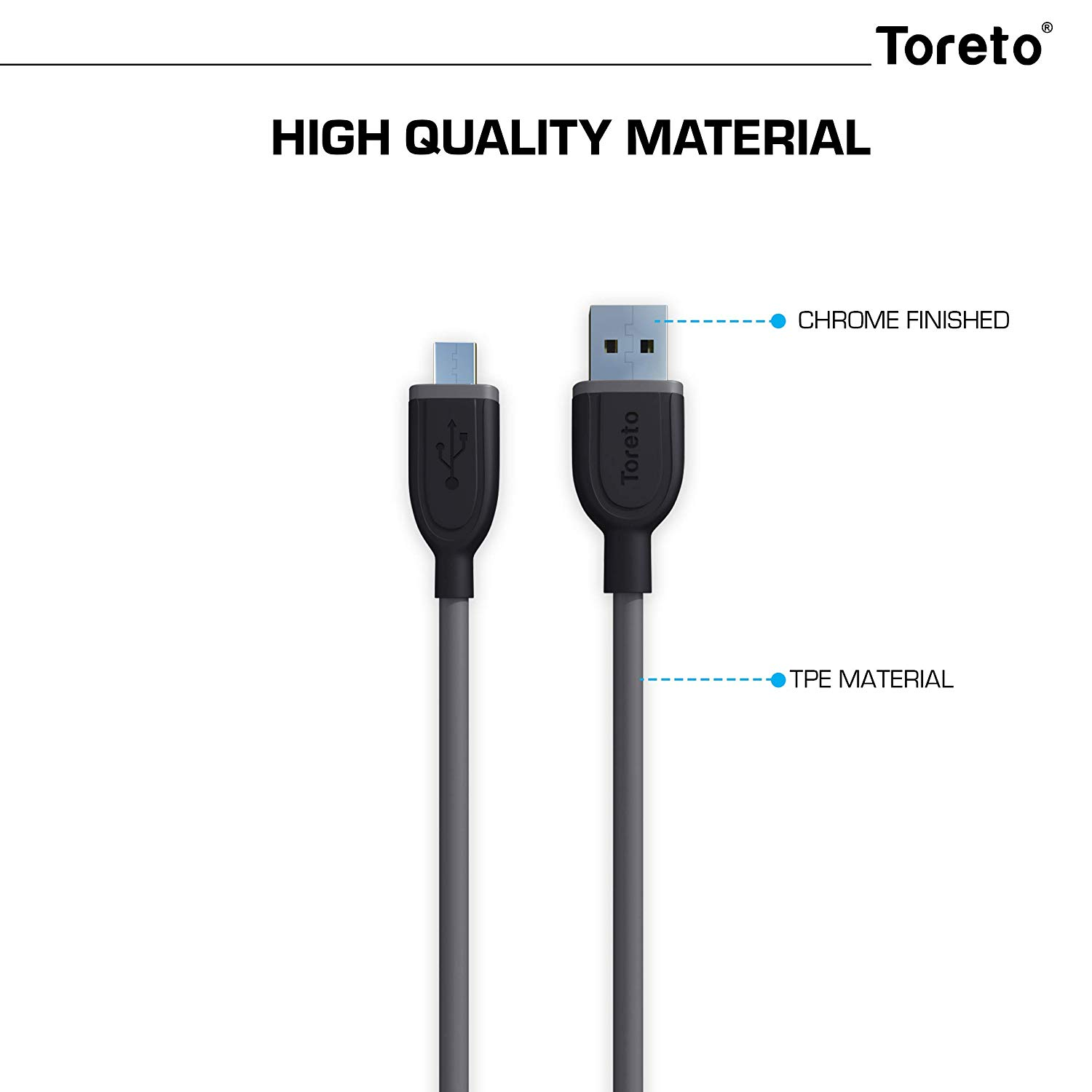 Toreto Armour-2 Micro USB Charging Cable for Android Phones 2M (TOR-839, Grey)