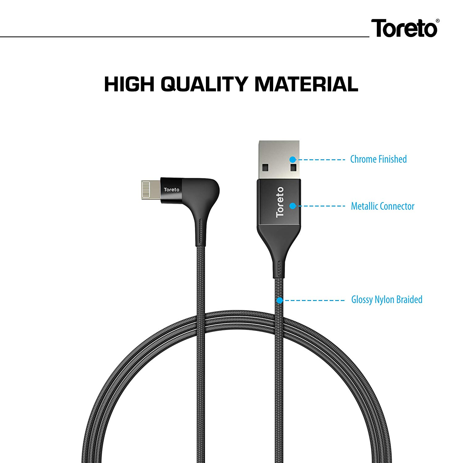 Toreto Unbreakable Braided Charging Data Cable 1 Meter for iOS (Elite, TOR-837)