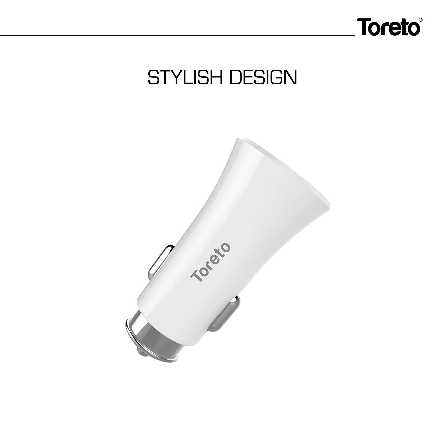 Toreto Smart Charge 3.4A Dual Port(USB,Type C) Car Charger for All Smartphones - Black,White-TOR 414