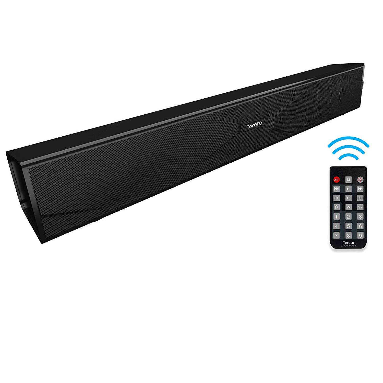 Toreto Soundblast,327 Wireless Soundbar with Built-in True Wireless Function,FM (Black,TOR-327)