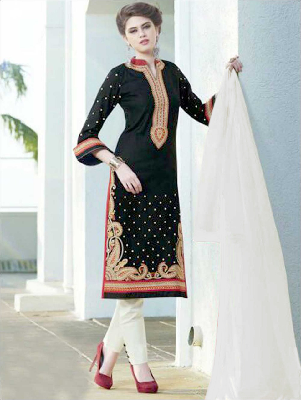 337Black and Cream Embroidered Cotton Satin Party Wear Straight Suit