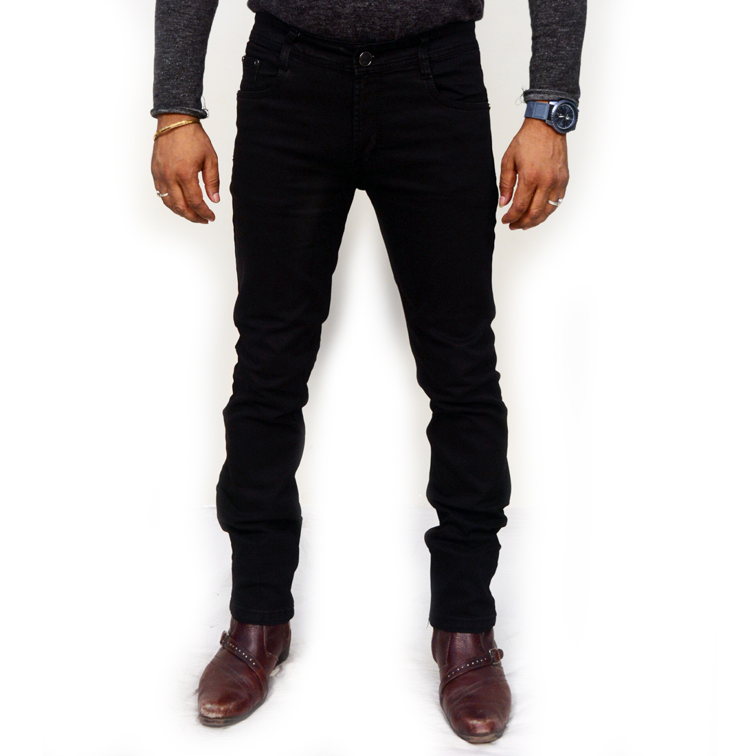 T&Y Men's Denim pants Black