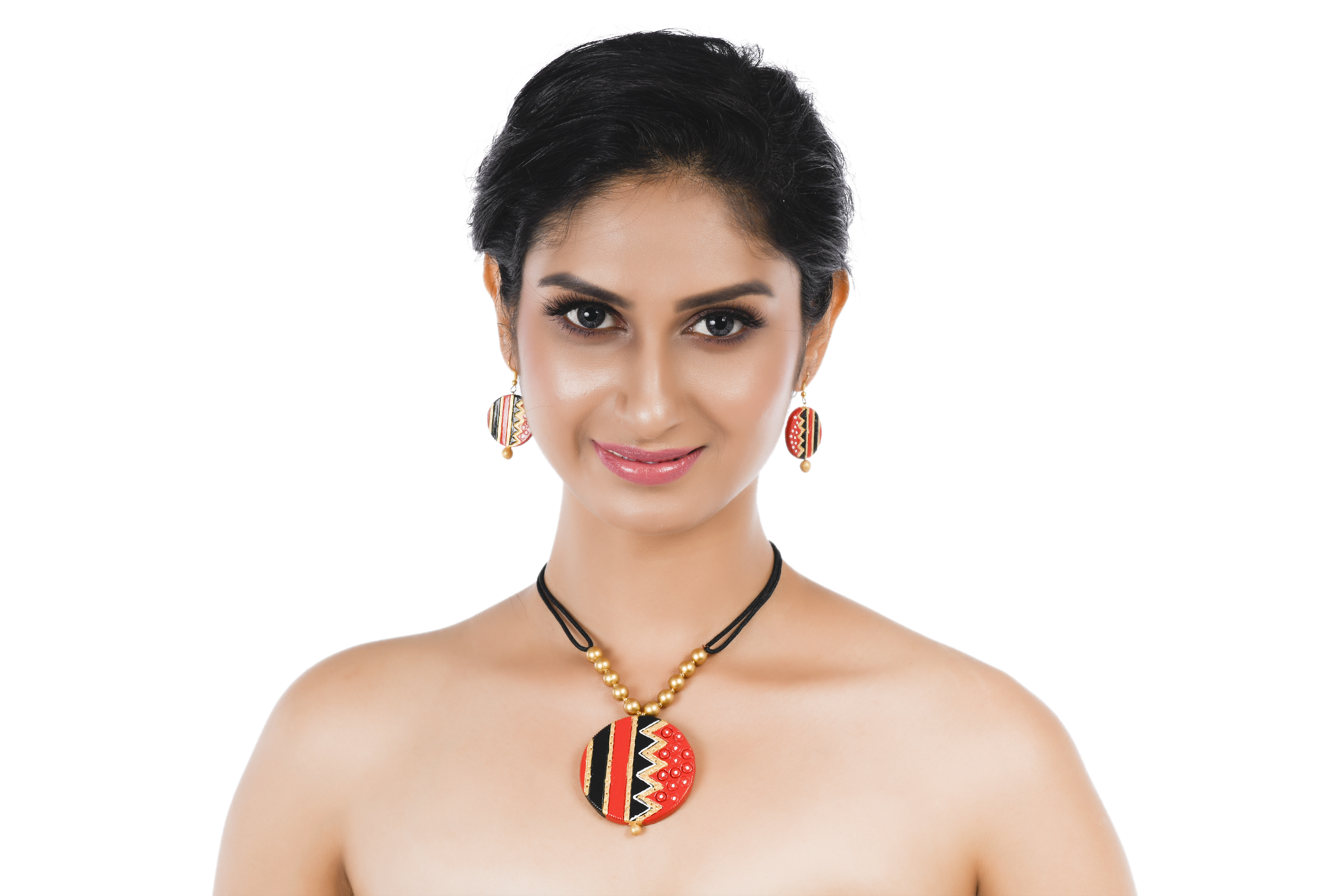 Women's Multicolor Contemporary Terracotta Necklace  With EARRINGS