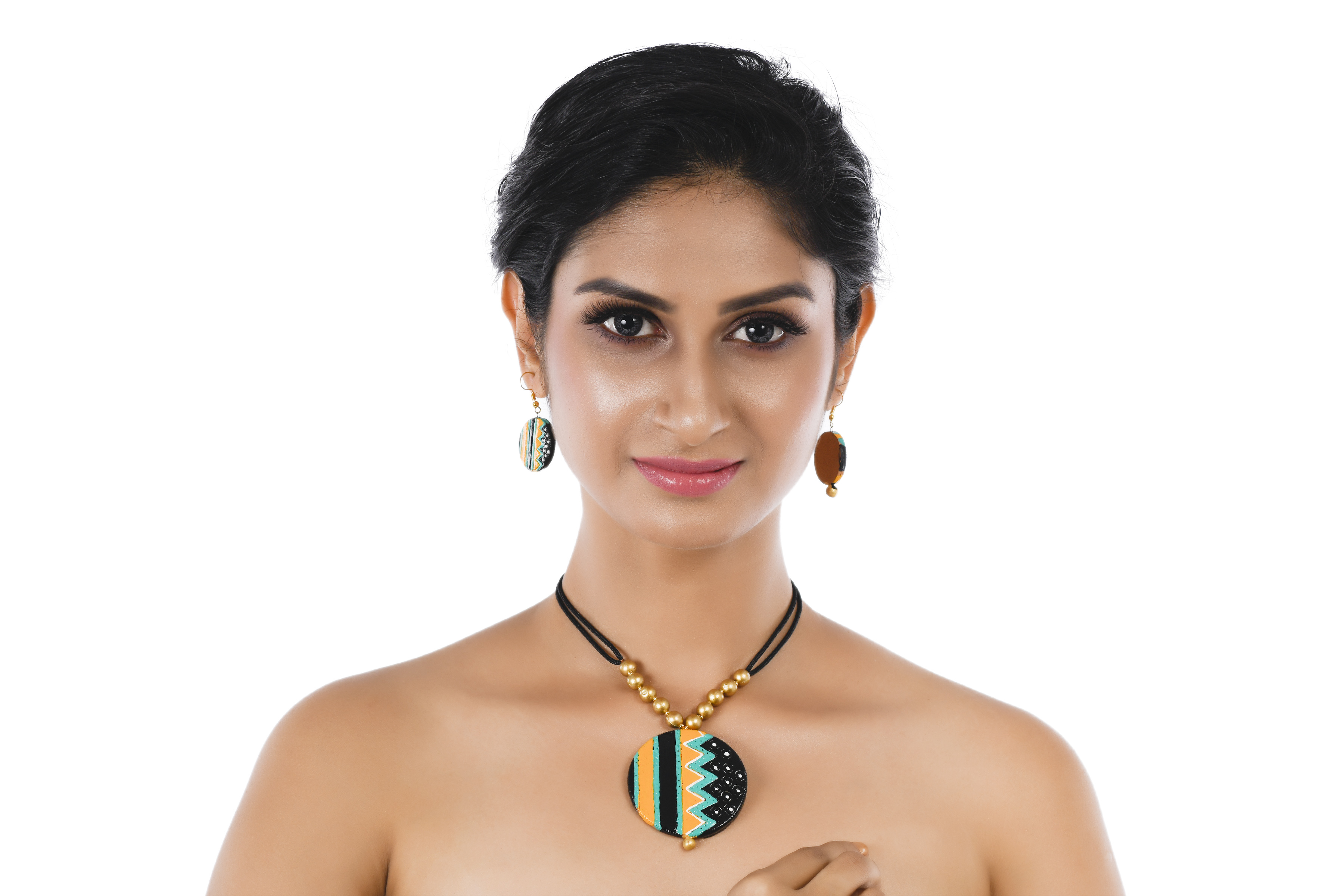 Women's TurquoiseGolden Beaded Contemporary Terracotta Necklace  With EARRINGS