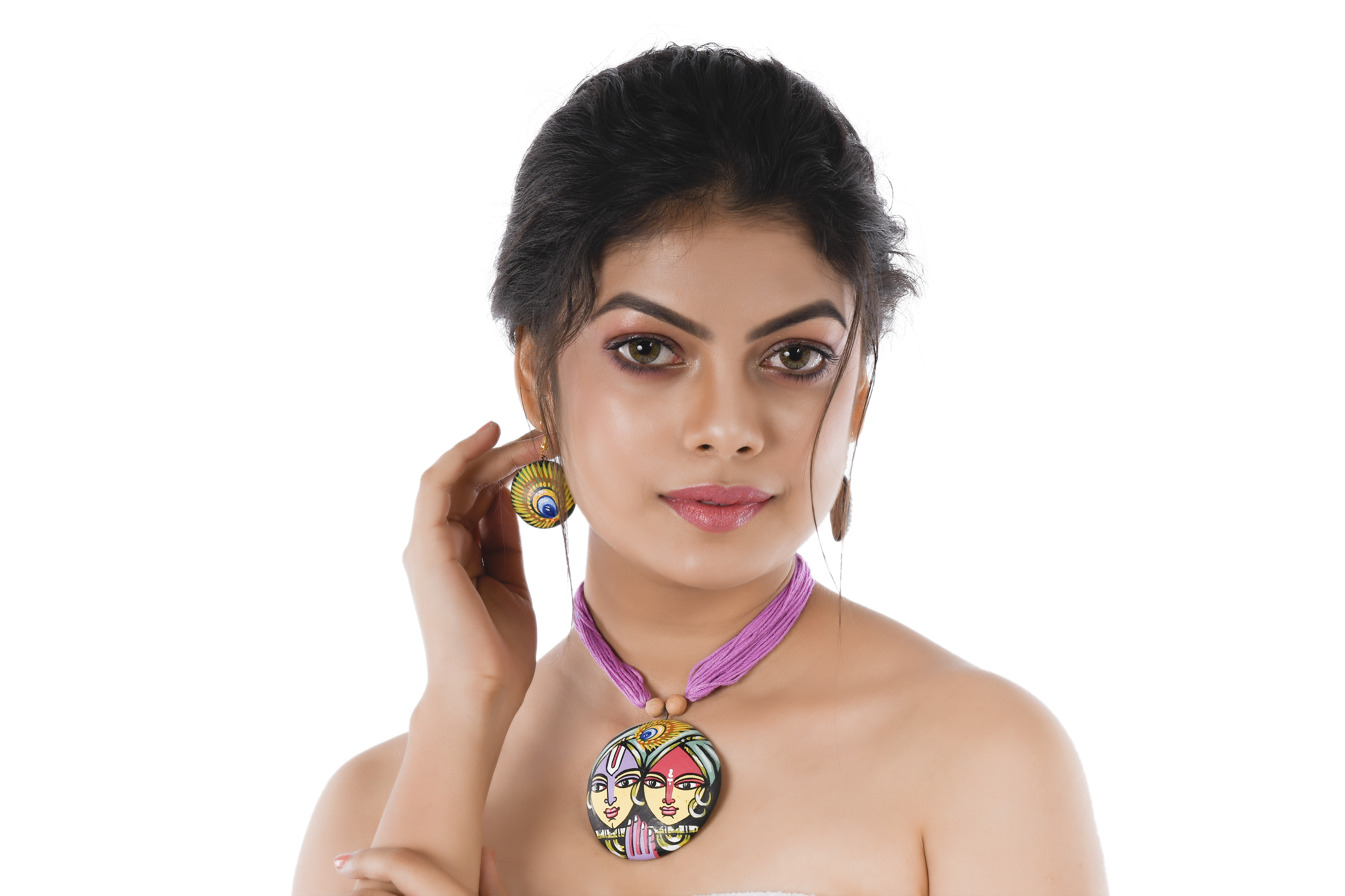 Women's Pink Color RadhaKrishna Painted Contemporary Terracotta Necklace  With EARRINGS
