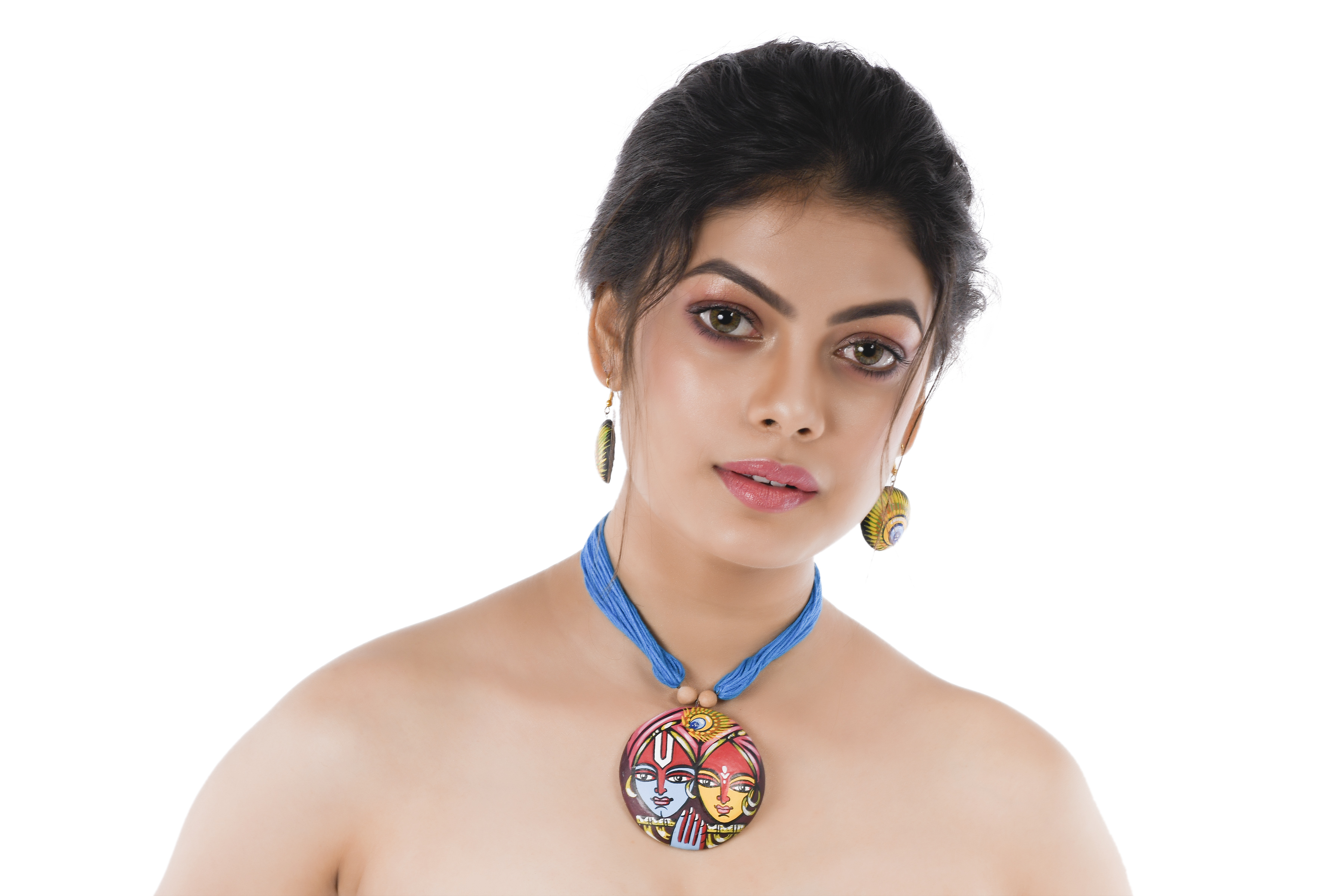 Women's Blue Color RadhaKrishna Painted Contemporary Terracotta Necklace  With EARRINGS