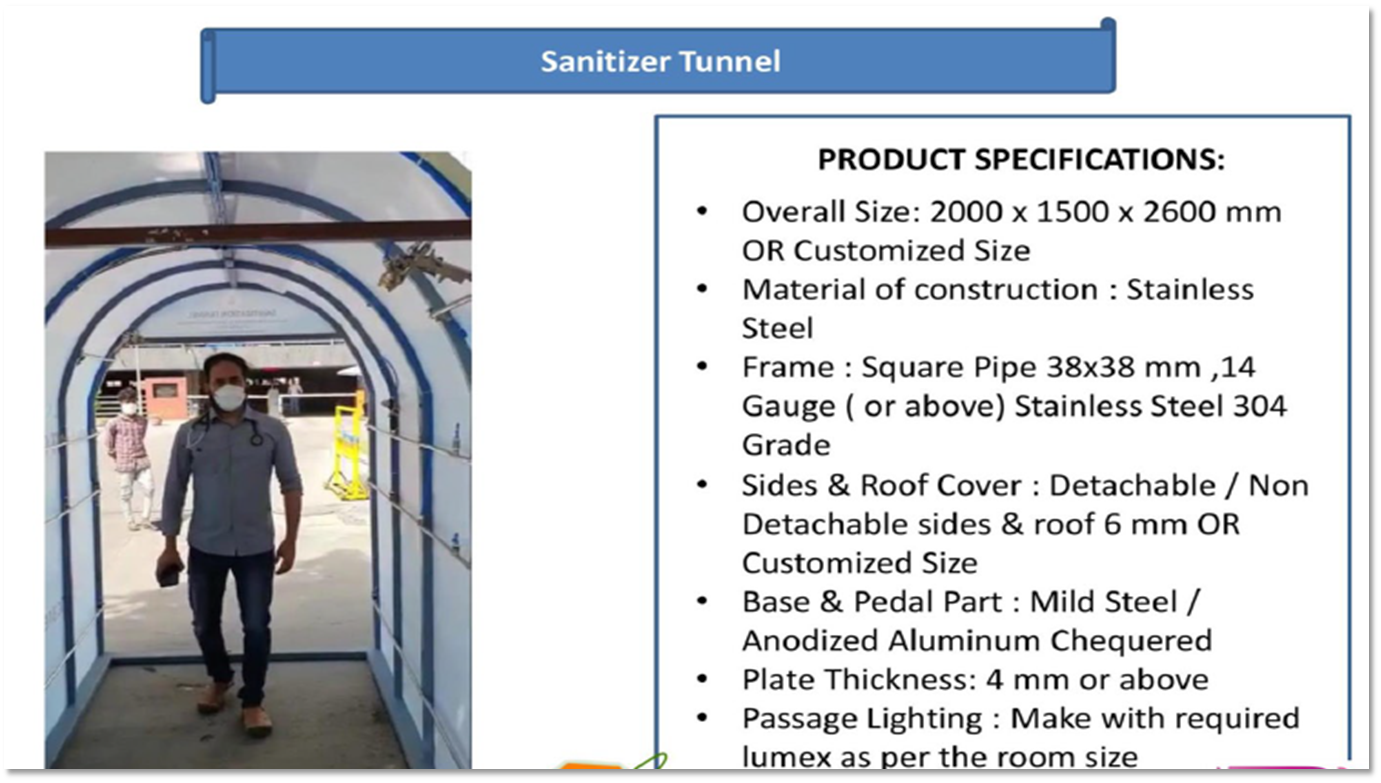 Sanitizer Tunnel FIBRE STAINLESS STEEL