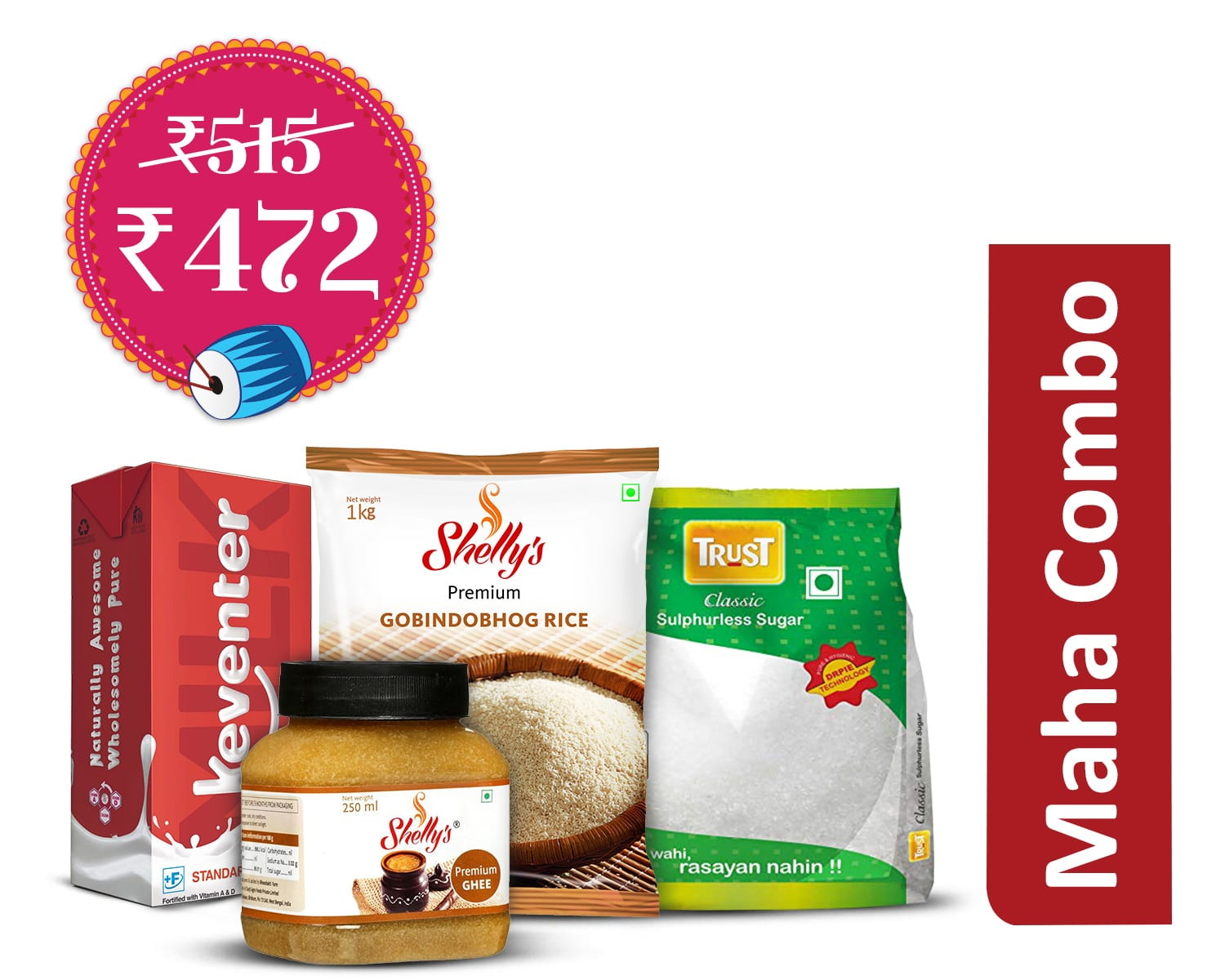 Mishti-making Essentials (1Unit): Shellys Gobindobhog Premium Rice 1kg + Shellys Premium Ghee 250gm + Keventer Standardized Milk 4.5%fat - 1Ltr + Trust Classic Sugar -1kg.