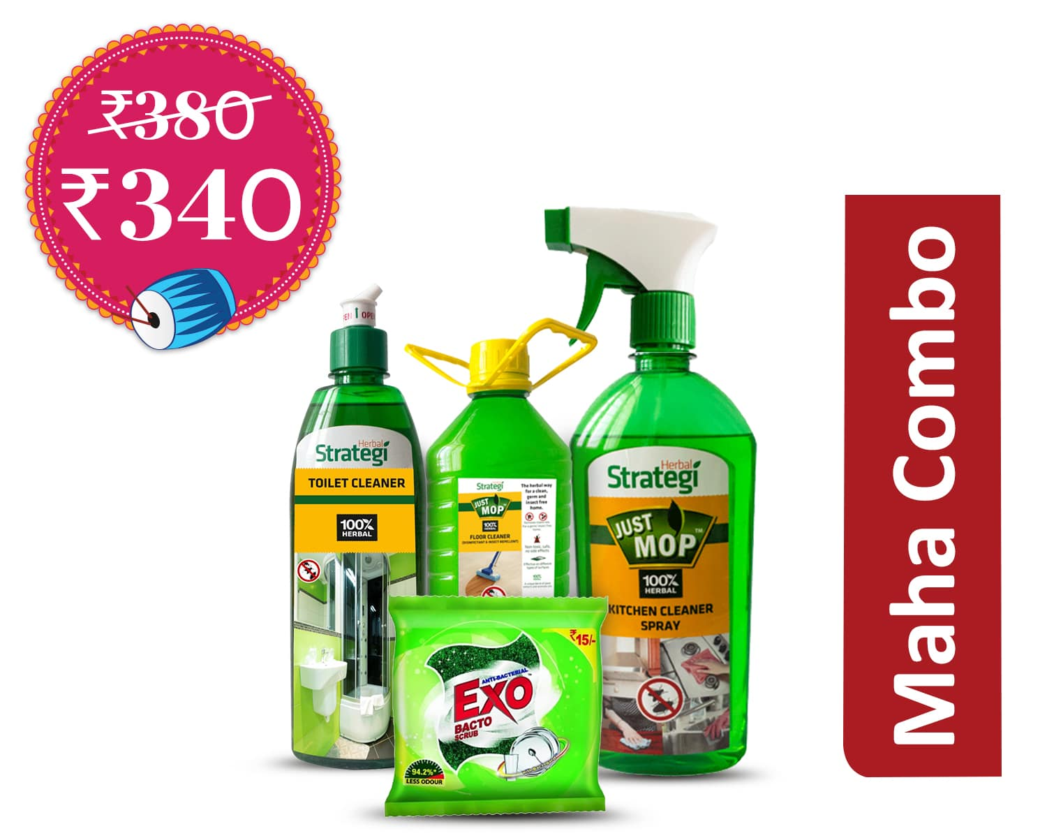 Supreme Cleaning Combo (1Unit): Herbal Disinfectant, Floor cleaner & Insect Repellent 500 ml + Herbal Kitchen cleaner,Disinfectant & Insect Repellent 500 ml + Herbal Toilet Disinfectant & Cleaner 500 ml + EXO ANTI BACTERIAL BACTO SCRUB 15/- * 3