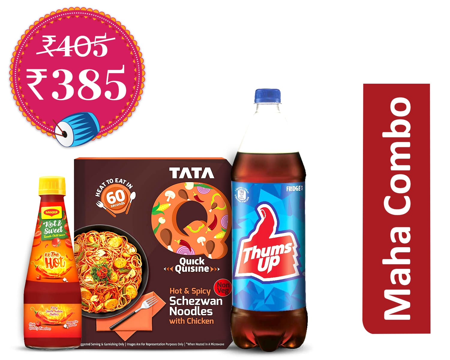Snack-a-thon Packs - Non-veg (1Unit): Tata`Q Hot & Spicy Schezwan Noodles With Chicken * 2 + Maggi Extra Hot H&S + Thums Up 1.25ltr